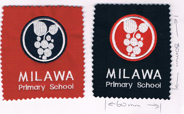 Milawa Primary School embroidery samples.